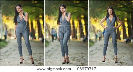 Beautiful woman in gray posing in autumnal park. Young brunette woman spending time during autumn