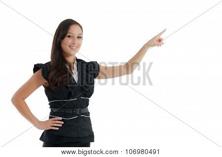 Business Woman Pointing White Copy Space