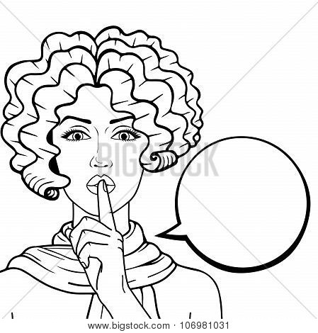 Vector old-fashioned woman with curly hair and speech bubble for your text outlined