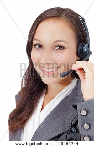 Sweet Young Woman Wearing A Headset