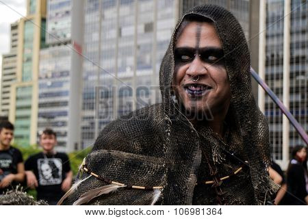 Guy In Costumes In Zombie Walk Sao Paulo