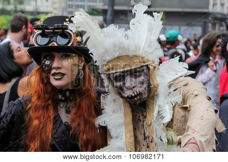 Couple In Costumes In Zombie Walk Sao Paulo