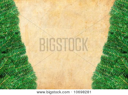 Christmas green framework with Pine needles isolated on paper