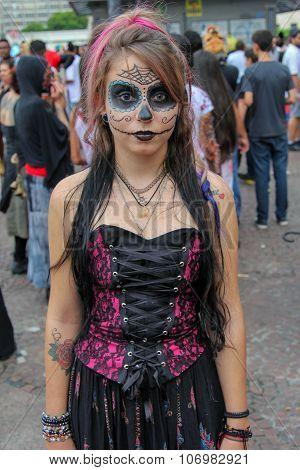 Beautiful Girl In Costumes In Zombie Walk Sao Paulo