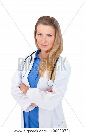 Confident Smiling Female Doctor With Stethoscope