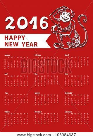 Calendar 2016.Chinese zodiac monkey.Linear