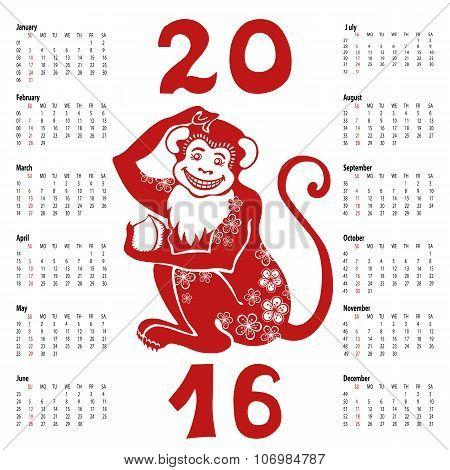 Calendar 2016.Chinese zodiac red monkey