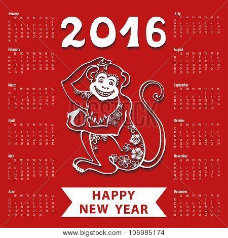 Calendar 2016.Chinese zodiac.Linear monkey.Red