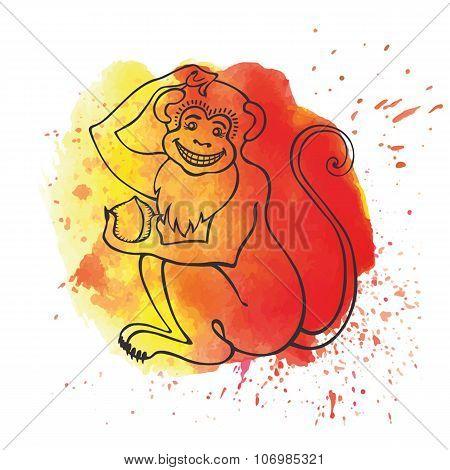 Chinese zodiac monkey.Watercolor splash