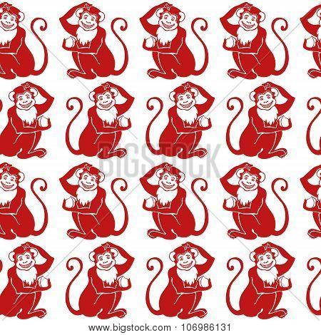 Red monkey seamless pattern.Chinese zodiac sign