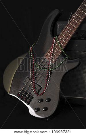 bass guitar body with beads