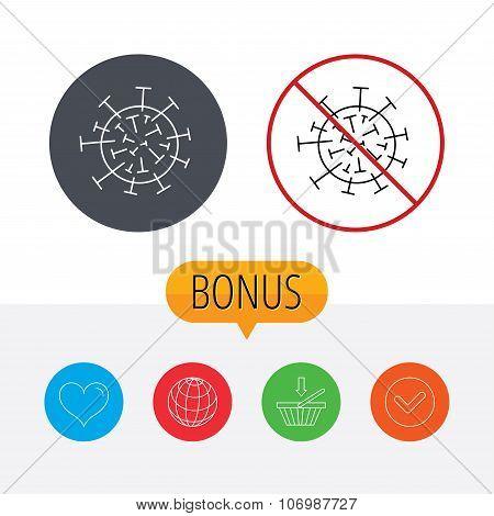 Virus icon. Molecular cell sign.