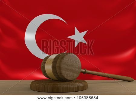 Turkey law and justice system with national flag