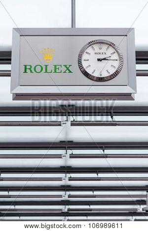 Rolex logo on a ceiling