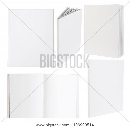 Blank white books isolated on white background