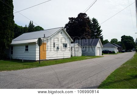 Small Homes and Garages in an Alley