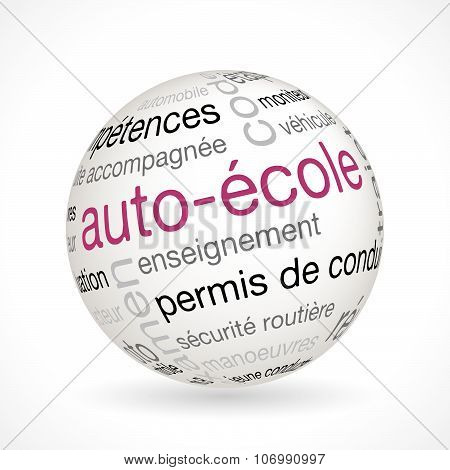 French Driving School Theme Sphere With Keywords