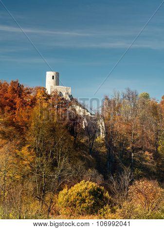 Ruins of medieval castle Smolen, near Pilica. Krakow-Czestochowa Upland, Poland