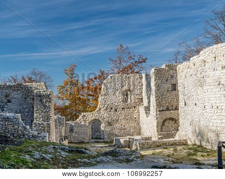 Ruins of medieval castle Smolen, near Pilica. located on the Trail of Eagles' Nest within the Krakow-Czestochowa Upland, Poland