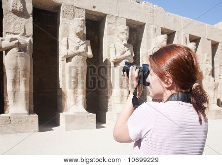 Girl Is Photographing Statues In Karnak Temple