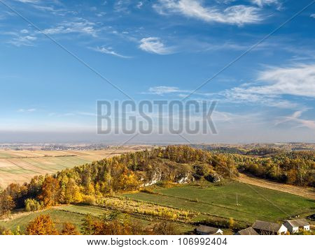 Panoramic view of Krakow-Czestochowa Upland as seen from the Ruins of medieval castle Smolen, located on the Trail of Eagles' Nest, Poland
