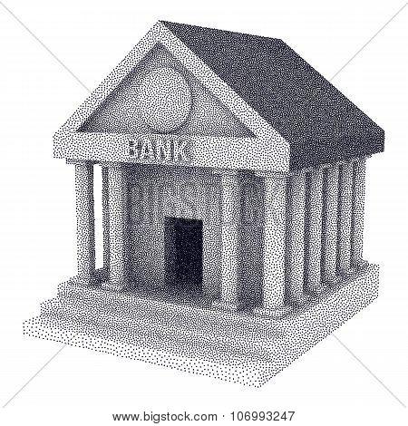 Dotwork Halftone Vector Bank Building