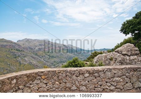 Drystone wall with mountain scenery