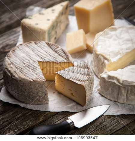 Soft french cheese of camembert and other types