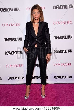 LOS ANGELES - OCT 13:  Sarah Hyland arrives to the Cosmopolitan's 50th Birthday Party on October 13, 2015 in Hollywood, CA.