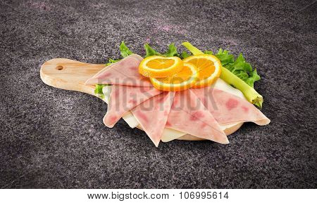 Pizza Ham Sliced On Wooden Board With Clipping Path