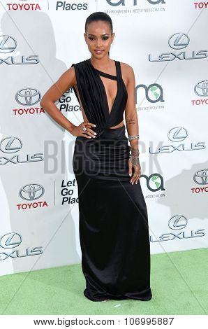 LOS ANGELES - OCT 24:  Karrueche Tran arrives to the 25th Annual Environmental Media Awards on October 24, 2015 in Hollywood, CA.