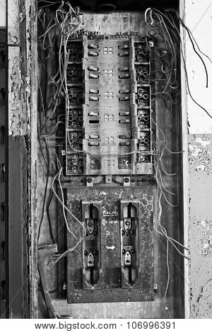 Old Electrical Panel In Abandoned Automotive Factory