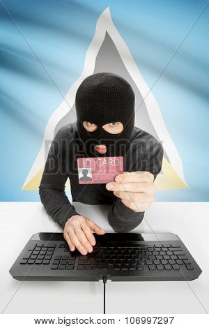 Hacker With Flag On Background Holding Id Card In Hand - Saint Lucia