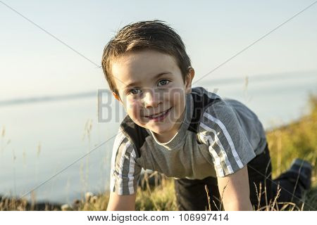 adorable 5 year old kid portrait