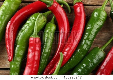 Hot peppers close up