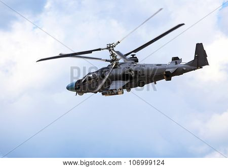 RYAZAN REGION - AUGUST 5: Attack helicopter armed with rockets bombs guns and able to fight day and night  - on August  5, 2015  in Ryazan region