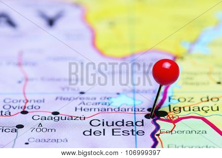Ciudad del Este pinned on a map of America