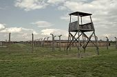 image of auschwitz  - Prisoners barrack and observation tower at Auschwitz Birkenau concentration camp - JPG