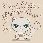 Cute Cat With Cup Of Coffee poster