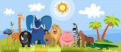 stock photo of tarzan  - vector illustration of a cute africa animals - JPG