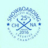 Snowboarding Typography Icon, Logotype And Badge St poster