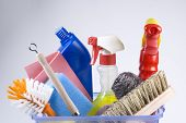 image of house cleaning  - brushes and such which you need on a daily basis - JPG