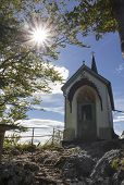 Постер, плакат: Beautiful Pilgrimage Chapel At Riederstein Mountain With Santa Maria Painting