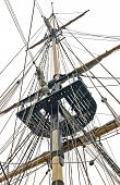 stock photo of yardarm  - Tall ship mast with rigging and crows nest - JPG