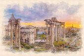 Постер, плакат: Watercolor Painting Effect Illustration Of A Dawn Over The Roman Forum In Rome Italy
