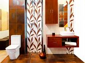 stock photo of lavabo  - Interior of brown bathroom with leaves tiles - JPG