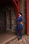 pic of acadian  - louisbourg guard watch over the main gate - JPG