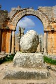 stock photo of euphrat  - ruins of ancient simonis abbey in syria - JPG