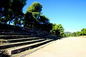 stock photo of epidavros  - view over the historical stadium of epidavros - JPG