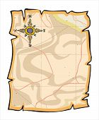 stock photo of treasure map  - vector illustration of blank map paper with grunge border - JPG